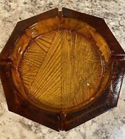 Vintage Mid-Century Modern  Octagon  Heavy Amber Glass Cigar Ashtray