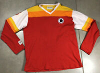 VTG Men's 1979 AS Roma #8 Sz M Red Vintage Cotton Soccer Jersey Longsleeve Shirt
