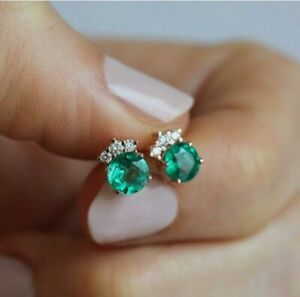 2Ct Round Cut Green Emerald & Diamond Cluster Stud Earrings 14k RoseGold Over SS