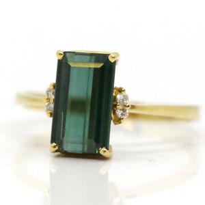 Turmalin Diamant Ring 750er Gelbgold GR 62 (2936)