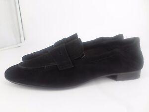 H & M Premium Quality Real Suede Black Loafers UK 3.5 EU 36 LG07 09 SALEw