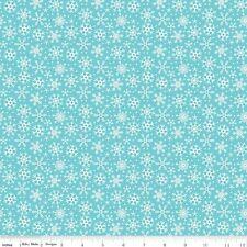 FLANNEL by 1/2 Yard - Riley Blake Christmas Fabric Santa Express Snowflakes Blue