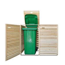 More details for double wheelie bin store storage outside garden horizontal slats, buttercup