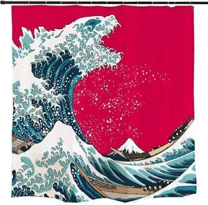 Ofat Home Japanisches Monster Godzilla Wave Duschvorhang Badezimmer Dekor Rot 72