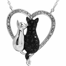 Tender Voices® 1/5 ct tw Black White Diamonds Cat Heart Necklace Sterling Silver