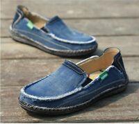 Canvas Vintage Mens Moccasins Driving Jean Shoes Slip On Loafers Denim Comfort