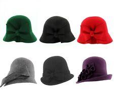 Whiteley Fischer Ladies Wool Cloche Hat Vintage style Black/Grey/Red/Green/Plum