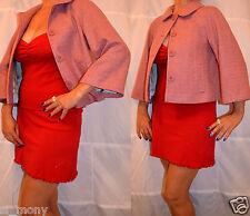 Women Pink Tailor Cape Jacket Classy Wool 99% Monsoon Size 10