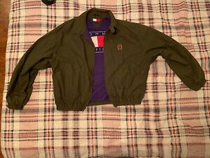 Vintage Green Tommy Hilfiger Full Zip Windbreaker Jacket Size P/CH S Crest Logo
