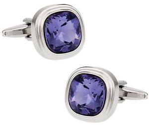 Tanzanite Blue Purple Crystal Cufflinks