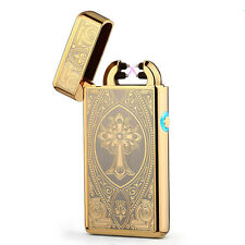 Gold Double Arc Light USB Electronic Rechargeable Cross Cigarette Lighter