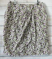 Veronika Maine Skirt Pencil Straight Size 12 Purple Green Cream Cotton