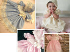 DREAM BABY BLUE PINK CREAM GUIPURE DRESS & BONNET NB TO 3 YEARS  OR REBORN DOLLS