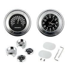 """Universelle 7/8"""" Moto Montre Horloge de Guidon lueur Thermomètre Pour Harley"""