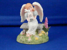 "Angel with Bunny Figurine - 2.25"" high"