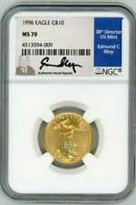 1996 $10 1/4 oz Gold Eagle NGC MS70 Hand Signed by ED MOY POPULATION JUST 2