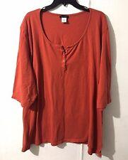 Women's ULLA POPKEN Shirt Top Orange Half Button 3/4 Sleeve Plus Size 32/34 5X