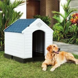 All Weather Design Dog House Shelter Backyard Plastic Waterproof Pet Puppy House