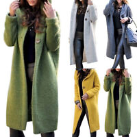 Damen Langarm Cardigan Strickjacke Sweater mit Kapuze Kapuzenpullover Tops 2019