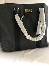 NWT HTF Michael Kors Black Signature Logo Extra Large Travel Tote Bag