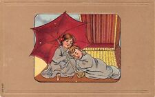 Seaside Beach~Children Sleep~Cuddle in Blankets~Red Umbrella~Cabana Chair~Emboss