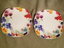Roscher DIVA Bone China Floral square Salad Dessert Plates colorful Flowers