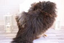 Genuine Natural Brown Icelandic Sheepskin Rug, Pelt, long fur, Super soft
