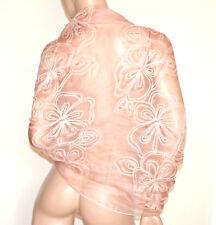 ESTOLA polvo rosa mujer foulard chal bufanda 30% seda velado pañuelo maxi G45