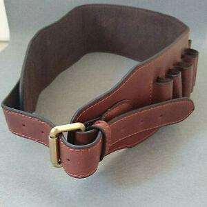 Shotgun cartridge belt brown leather open loop (12G)