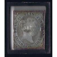 SILVER STAMP SPAIN ESPAÑA EDIFIL 6 SELLO PLATA 6 CUARTOS ISABEL 1851 SELI-D´OR