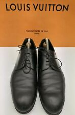 LOUIS VUITTON Mens Lambskin Derby Black Leather Shoes Dress Size 8.5 EU 42 690$