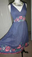 MONSOON 100% Cotton Dusky Blue Fit & Flare Bohemian Embroidered Dress Size UK 8