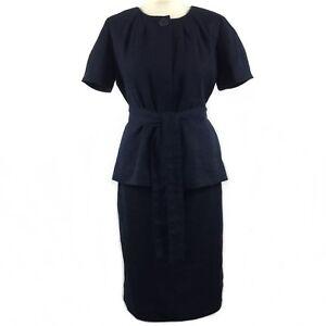 J. CREW Navy Blue Boucle Short Sleeve Skirt Belted Jacket Suit Work Career 10