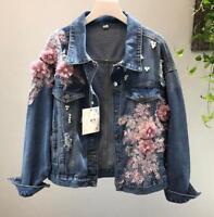 Womens Hole 3D flower denim jacket pearl BF denim jeans jacket coat outwear