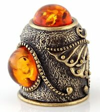 "Thimble Butterfly Brass & Honey Baltic Amber Collectible Russian Souvenir 1 1/8"""