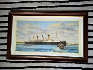 RMS TITANIC Limited Ed Large Framed Print 206/500 Signed by 2 survivors & Artist