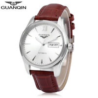 Luxury GUANQIN GJ16034 Men Male Business Auto Mechanical Leather Band Wristwatch