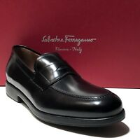 Ferragamo Black Leather Fashion Penny Dress Loafers 10 EE Men's Casual Moccasin