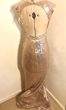 Ladies Rose Gold Sequin and Beaded Evening Prom Dress UK M