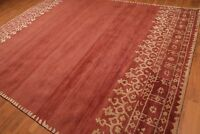 Old Hand Made Rust & Beige Contemporary Style Persian Oriental Wool Area Rug