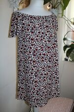 MANGO MNG- VINTAGE FLORAL- CREAM BURGUNDY STRETCH TUNIC DRESS- SMALL - UK8 - NEW