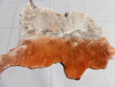 sheepskin leather hide Terra Cotta & Tan Tipped Bone thick fluffy haired