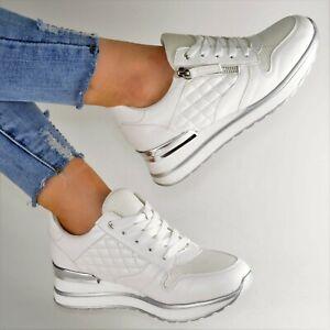 Damen Schuhe Sneaker Weiss Weiß Plateau Glitzer Sport Freizeitschuhe Keilabsatz