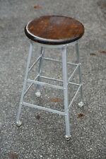Vintage drafting stool chair industrial wood seat table workbench Desk counter