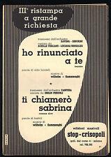 HO RINUNCIATO A TE (A. TOGLIANI), TI CHIAMERO' SABRINA (E. PERICOLI) # SPARTITO