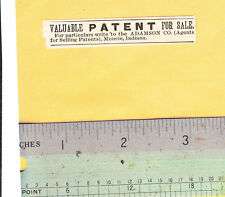 1887 Valuable Patent For Sale Advertisement