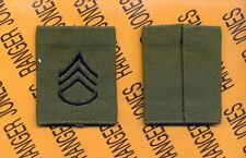 US ARMY Enlisted STAFF SERGEANT SSG E-6 OD Green & Black slip on rank patch