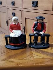 Cast Iron AMISH Bookends Man and Woman Hand Painted