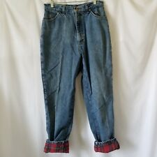 LL Bean Jeans 14 MT Women's Regular Fit Relaxed Red Plaid Flannel Lined Denim