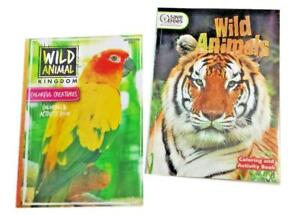 Wild Animals Tigers Tropical Birds Jungle Coloring Book Activity Books Set of 2